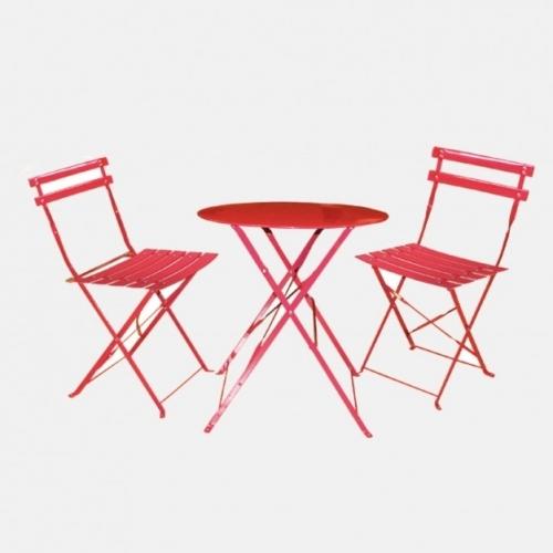Червен градински комплект - маса и столове