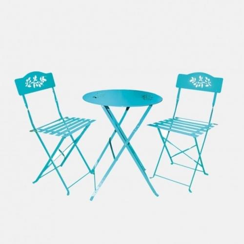 Градински син сет от маса и два стола
