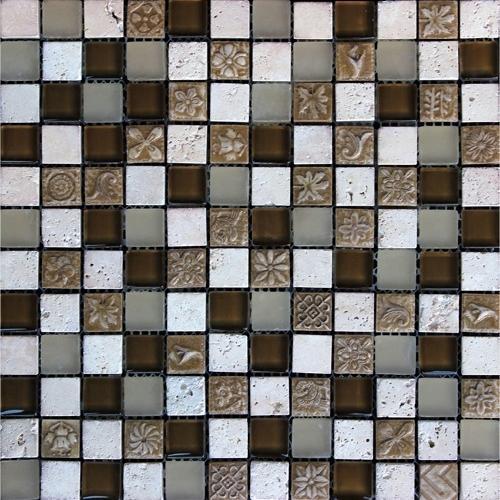 Стъклокерамична мозайка с камък 390