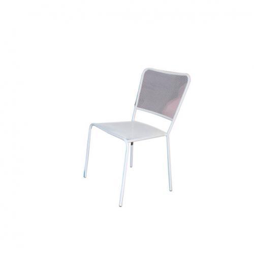 Бял градински метален стол