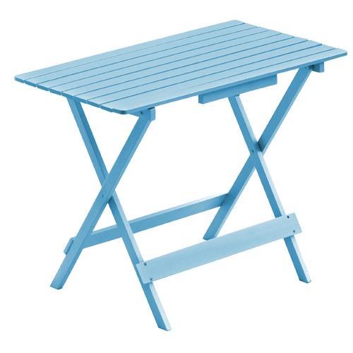 Дървена квадратна сгъваема маса в синьо