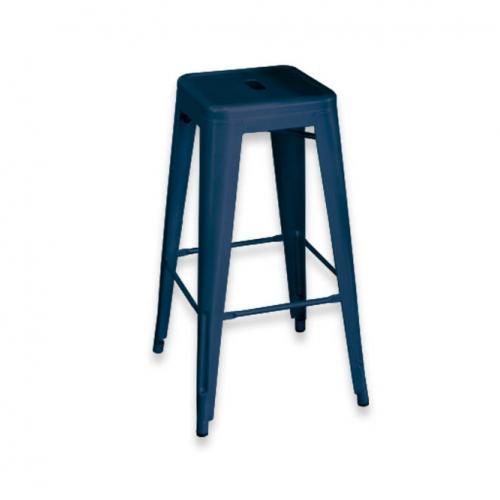 Метален син бар стол