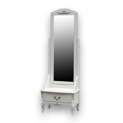 Стоящо огледало с чекмедже в бял цвят