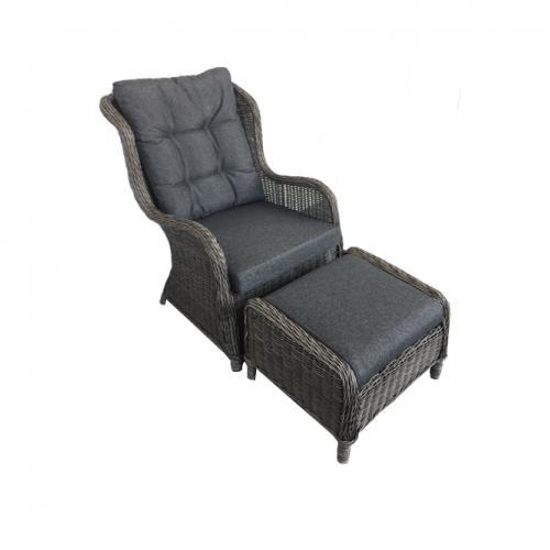 Модерно кресло с подлакътници и табуретка