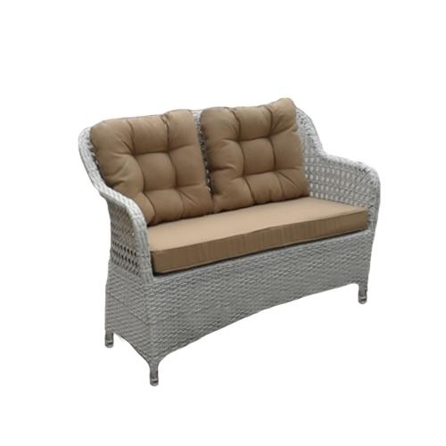 Градински диван двойка в сиво-бял цвят