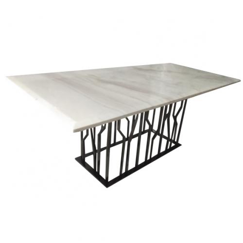 Трапезарна маса с бял мраморен плот