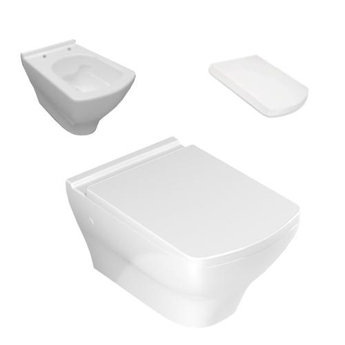 Окачен тоалет, бял порцелан