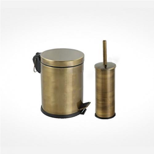 Кош за боклук и стояща четка в цвят бронз