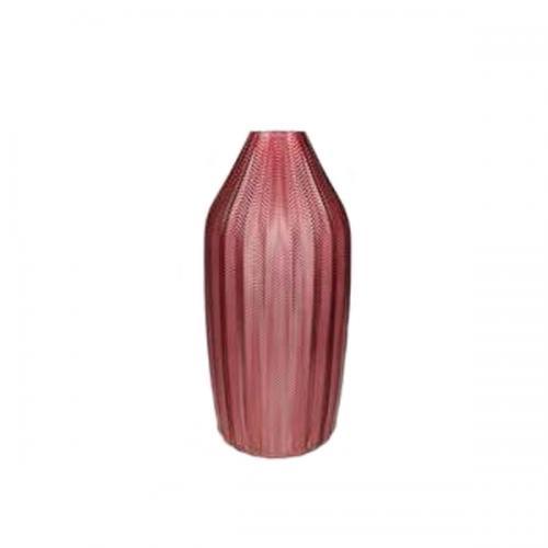 Стъклена ваза в цвят бургунди