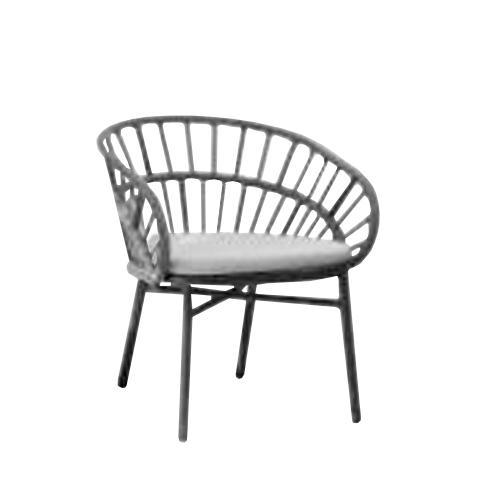Трапезарен стол с алуминиева рамка и оплетка от въже