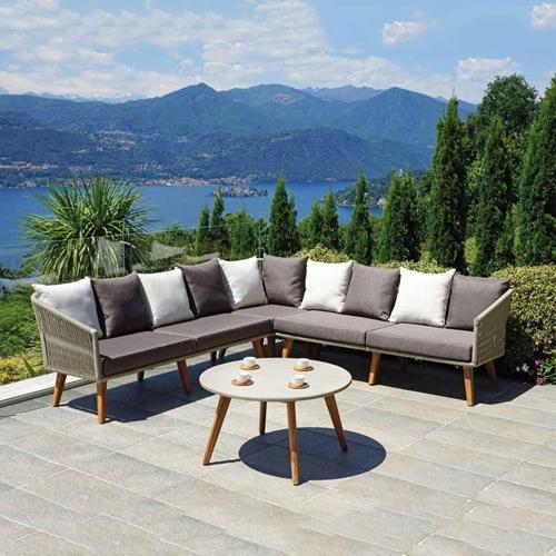 Градински ъглов модулен диван с масичка за кафе