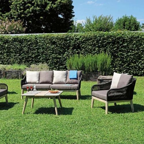 Градински сет от два фотьойла, диван тройка и масичка за кафе