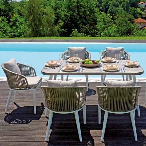 Градински комплект от 6 стола и маса