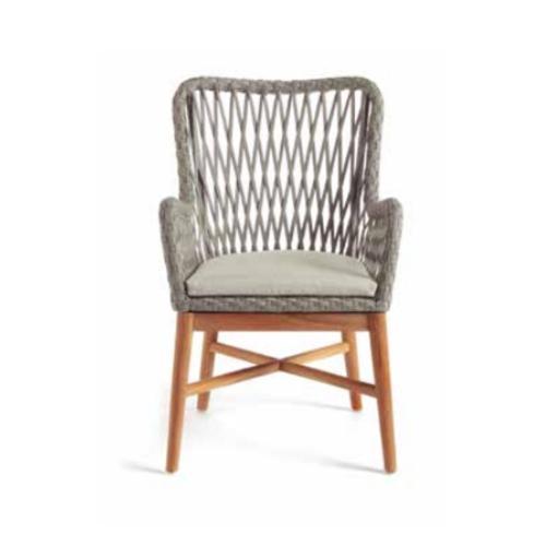 Елегантен градински стол с плетен гръб
